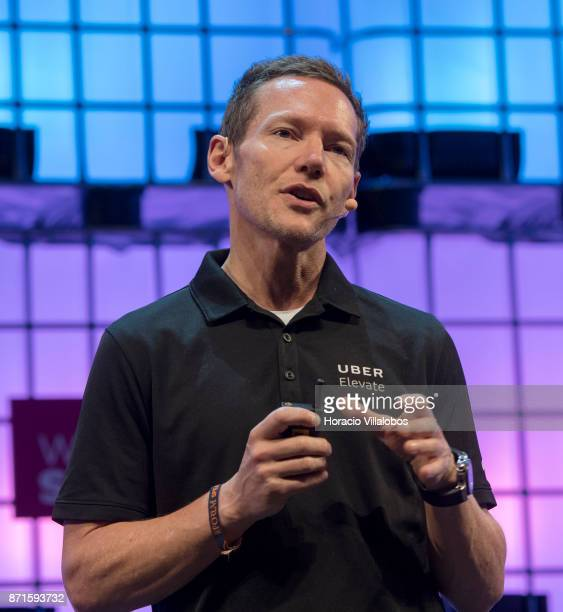 Jeff Holden CPO Uber speaks on 'Uber's flying cars' during the third day of Web Summit in Altice Arena on November 08 2017 in Lisbon Portugal Web...