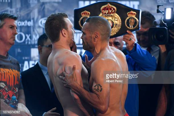 Jeff Horn and Anthony Mundine clash during the official Weigh In ahead of the 'River City Rumble' at Suncorp Stadium on November 29 2018 in Brisbane...