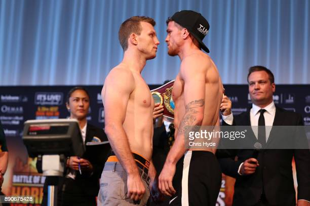 Jeff Horn and Gary Corcoran face off during the official weigh in at Sky Terrace on December 12 2017 in Brisbane Australia Horn and Corcoran will...