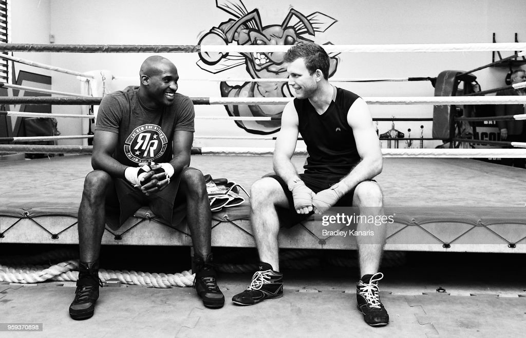 Jeff Horn and Ray Robinson have a chat before a sparring session at Stretton Boxing Club on May 17, 2018 in Brisbane, Australia.