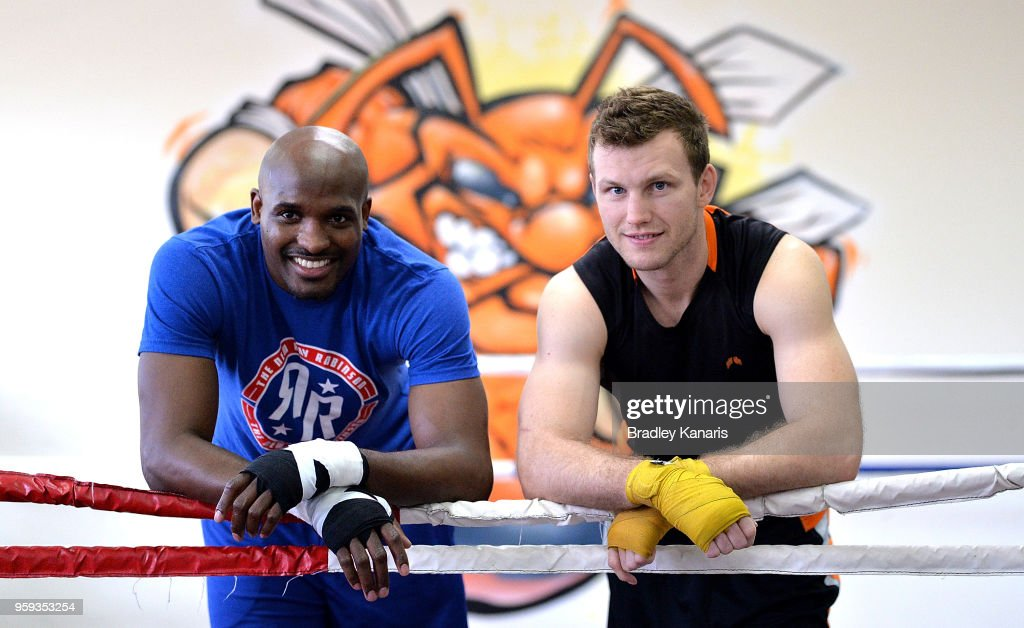 Jeff Horn and Ray Robinson pose for a photo before their sparring session at Stretton Boxing Club on May 17, 2018 in Brisbane, Australia.
