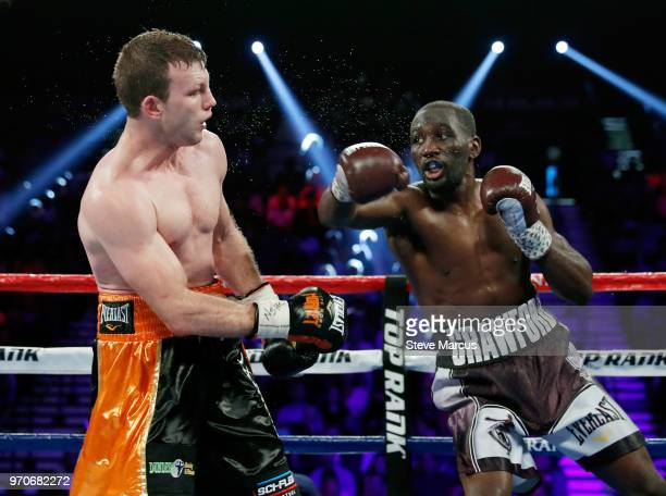 Jeff Horn and Terence Crawford battle in the seventh round of their WBO welterweight title fight at MGM Grand Garden Arena on June 9 2018 in Las...