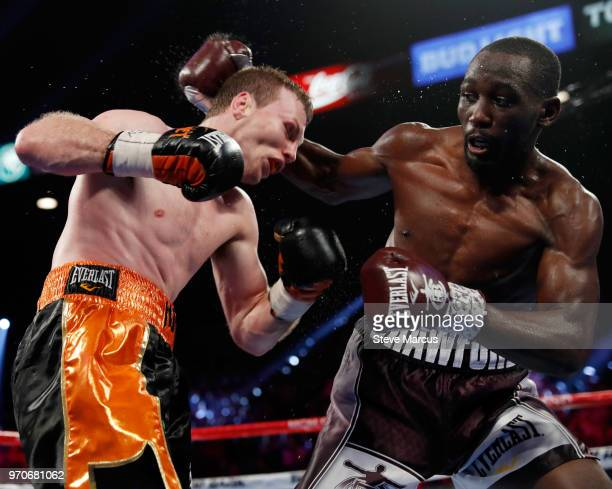 Jeff Horn and Terence Crawford battle in the sixth round of their WBO welterweight title fight at MGM Grand Garden Arena on June 9 2018 in Las Vegas...
