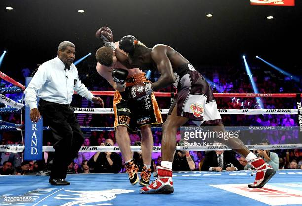 Jeff Horn and Terence Crawford exchange punches in their WBO welterweight title fight at MGM Grand Garden Arena on June 9 2018 in Las Vegas Nevada