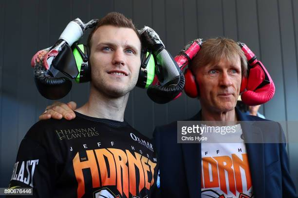 Jeff Horn and trainer Glen Rushton wear boxing gloves on their head as a joke during the official weigh in at Sky Terrace on December 12 2017 in...