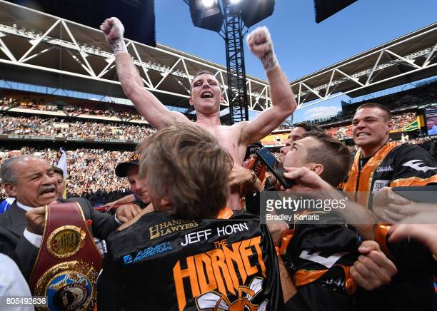 Jeff Horn celebrates his victory after the WBO Welterweight Title Fight between Jeff Horn of Australia and Manny Pacquiao of the Philippines at...