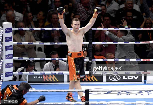 Jeff Horn celebrates knocking out Anthony Mundine in the first round during the River City Rumble between Jeff Horn and Anthony Mundine at Suncorp...