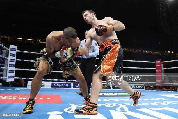 Jeff Horn celebrates punches Anthony Mundine during the River City Rumble at Suncorp Stadium on November 30 2018 in Brisbane Australia