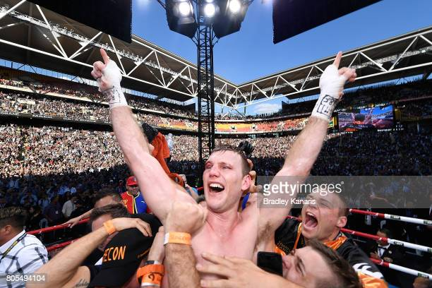 Jeff Horn celebrates victory after winning the WBO Welterweight Title Fight between Jeff Horn of Australia and Manny Pacquiao of the Philippines at...