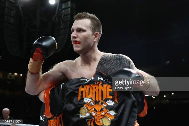 Jeff Horn celebrates winning against Anthony Mundine during the River City Rumble at Suncorp Stadium on November 30 2018 in Brisbane Australia