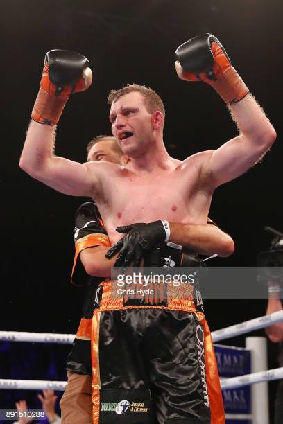 Jeff Horn celebrates winning the WBO Welterweight Championship bout between Jeff Horn and Gary Corcoran at Brisbane Convention Exhibition Centre on...