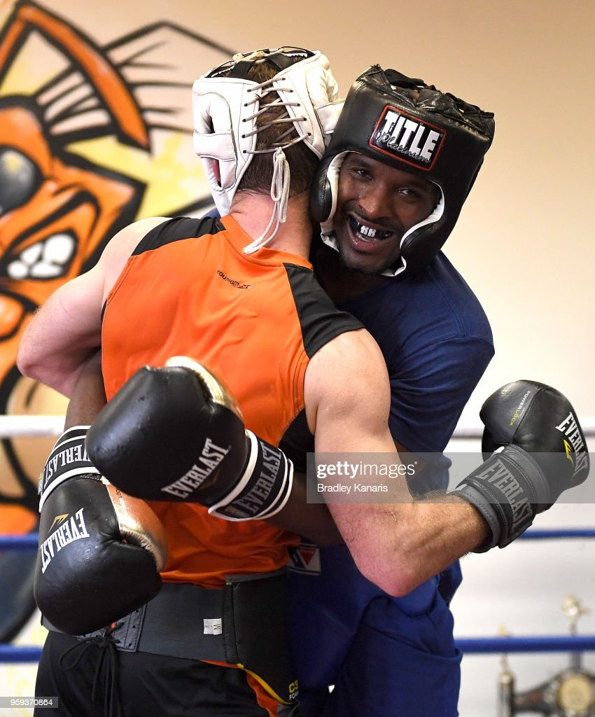 Jeff Horn competes against Ray Robinson in a sparring session at Stretton Boxing Club on May 17, 2018 in Brisbane, Australia.