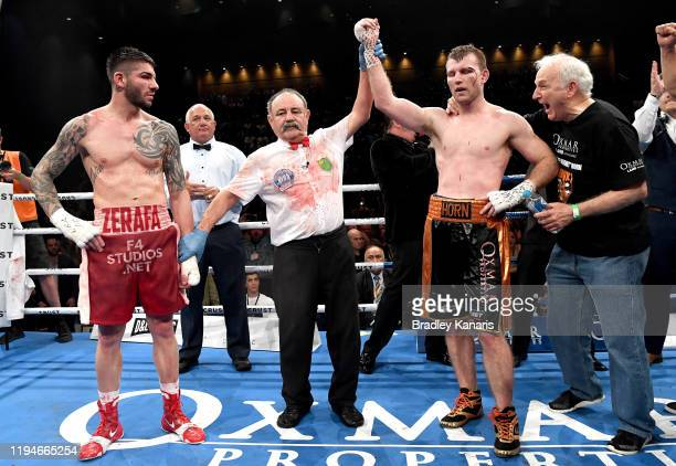 Jeff Horn is awarded the win after the middleweight bout between Jeff Horn and Michael Zerafa at Brisbane Convention Exhibition Centre on December 18...