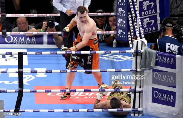 Jeff Horn knocks out Anthony Mundine in the first round during the River City Rumble between Jeff Horn and Anthony Mundine at Suncorp Stadium on...