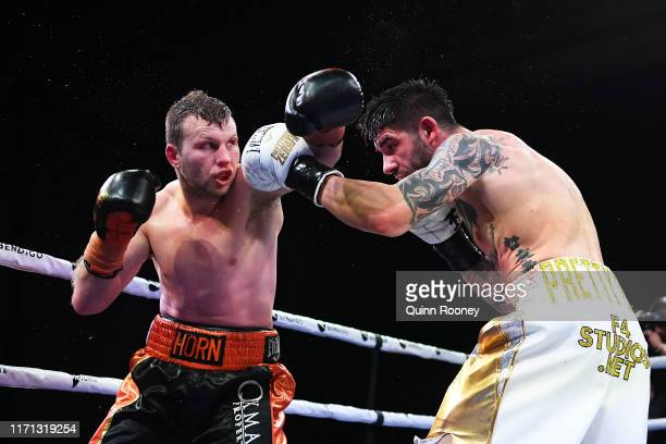 Jeff Horn lands a punch to Michael Zerafa during the Australian Middleweight bout between Jeff Horn and Michael Zerafa at Bendigo Stadium on August...