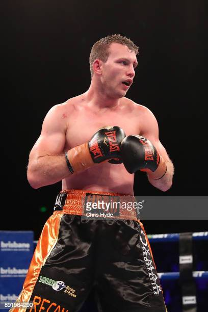 Jeff Horn looks on during the WBO Welterweight Championship bout between Jeff Horn and Gary Corcoran at Brisbane Convention Exhibition Centre on...