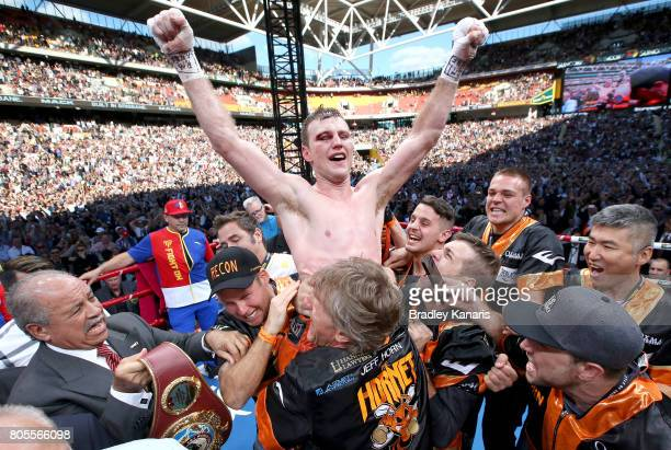 Jeff Horn of Australia celebrates victory after winning the WBO Welterweight Title Fight between Jeff Horn of Australia and Manny Pacquiao of the...