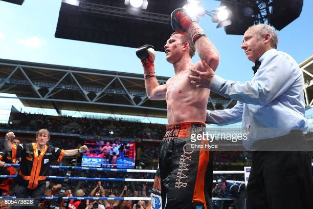 Jeff Horn of Australia celebrates winning against Manny Pacquiao during the WBO World Welterweight Title Fight at Suncorp Stadium on July 2 2017 in...