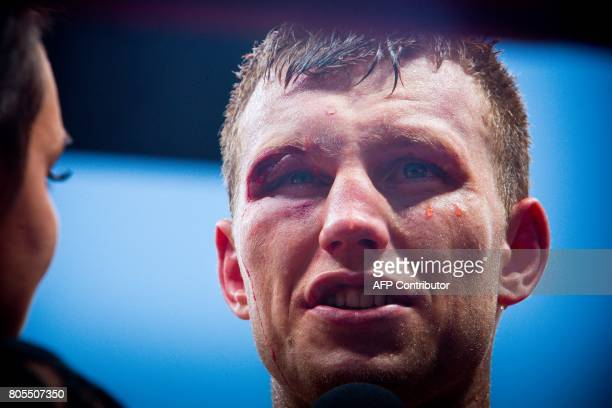 Jeff Horn of Australia is interviewed after beating Manny Pacquiao of the Philippines in their World Boxing Organisation welterweight boxing match at...
