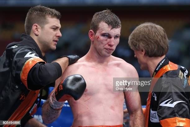 Jeff Horn of Australia looks on during the WBO World Welterweight Title Fight against Manny Pacquiao of the Philippines at Suncorp Stadium on July 2...