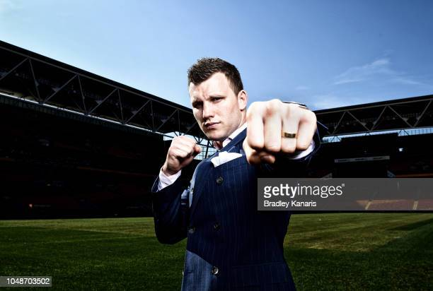 Jeff Horn poses for a photo after a press conference at Suncorp Stadium on October 10 2018 in Brisbane Australia