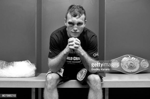 Jeff Horn poses for a photo in the dressing room after winning the WBO Welterweight Title Fight between Jeff Horn of Australia and Manny Pacquiao of...