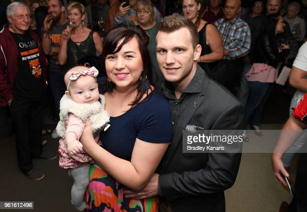 Jeff Horn poses for a photo with his wife Jo and baby daughter Isabelle at the Jeff Horn Farewell Function at The Caxton Hotel on May 23 2018 in...