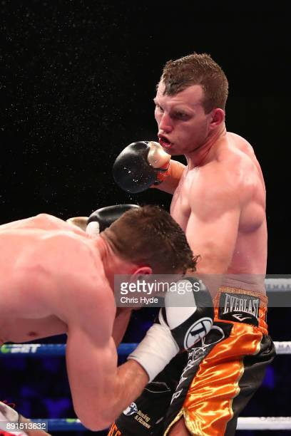 Jeff Horn punches Gary Corcoran during the WBO Welterweight Championship bout between Jeff Horn and Gary Corcoran at Brisbane Convention Exhibition...