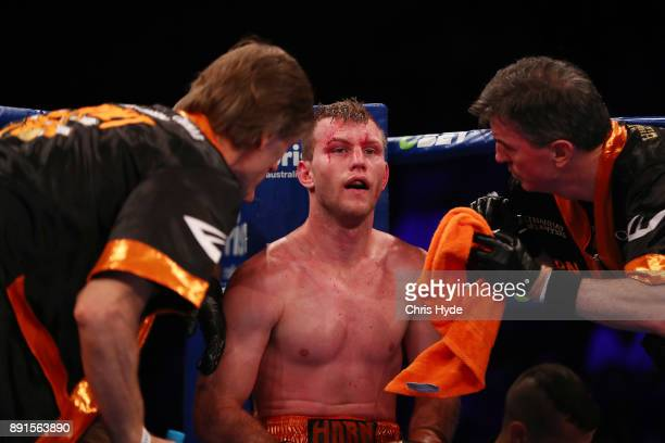 Jeff Horn sits in his corner between rounds during the WBO Welterweight Championship bout between Jeff Horn and Gary Corcoran at Brisbane Convention...
