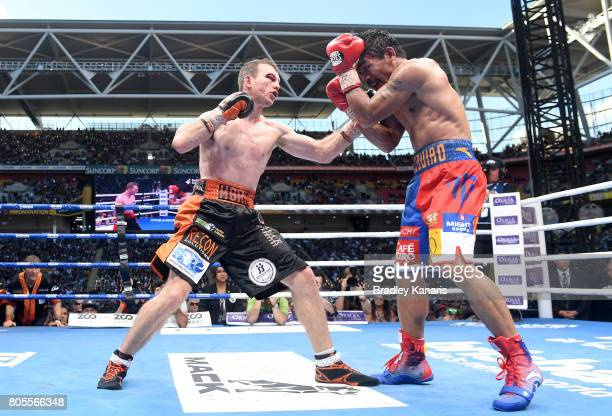 Jeff Horn throws a punch during the WBO Welterweight Title Fight between Jeff Horn of Australia and Manny Pacquiao of the Philippines at Suncorp...