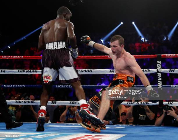 Jeff Horn tries to keep his balance after a punch from Terence Crawford in the eighth round of their WBO welterweight title fight at MGM Grand Garden...