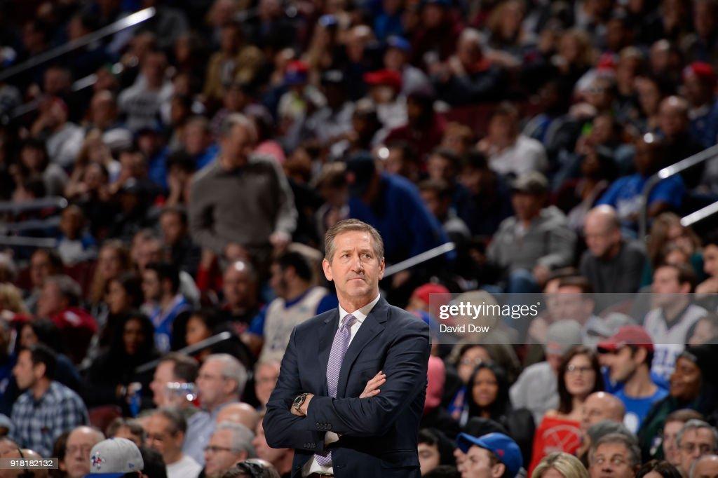 Jeff Hornacek of the New York Knicks looks on during the game against the Philadelphia 76ers on February 12, 2018 in Philadelphia, Pennsylvania at Wells Fargo Center.