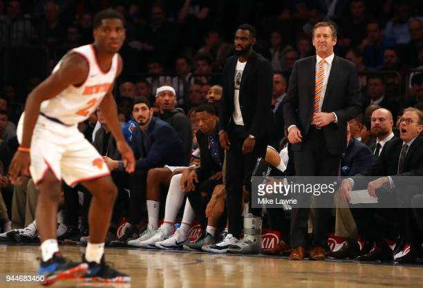 Jeff Hornacek of the New York Knicks looks on in the fourth quarter against the Cleveland Cavaliers at Madison Square Garden on April 9 2018 in New...