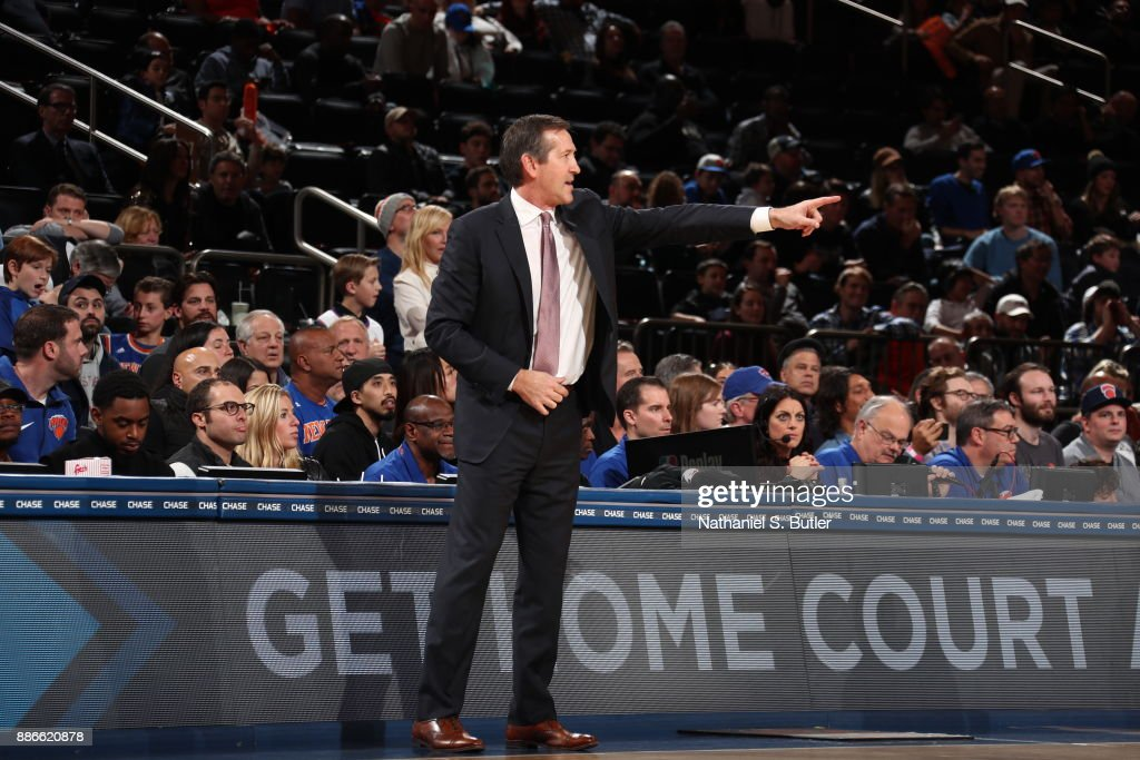 Jeff Hornacek of the New York Knicks reacts during game against the Orlando Magic on December 3, 2017 at Madison Square Garden in New York, New York.
