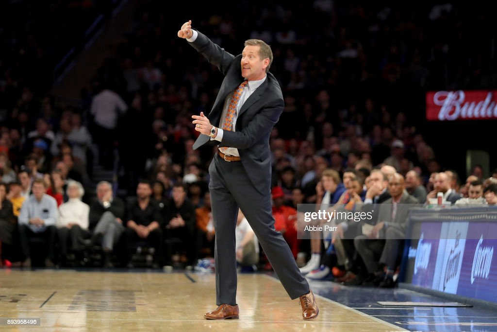 Jeff Hornacek of the New York Knicks reacts in the second half against the Oklahoma City Thunder during their game at Madison Square Garden on December 16, 2017 in New York City.