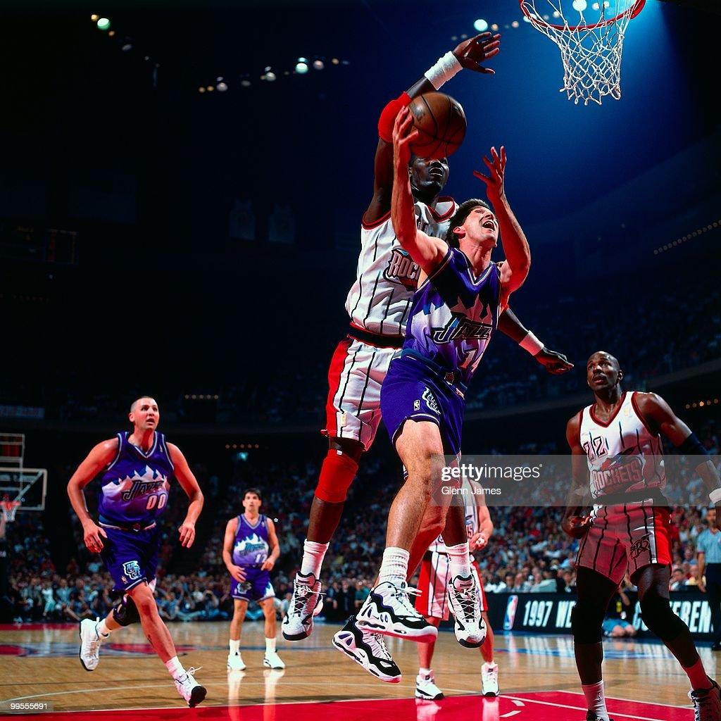Houston Rockets Vs Utah Jazz: Jeff Hornacek Of The Utah Jazz Shoots A Layup Against