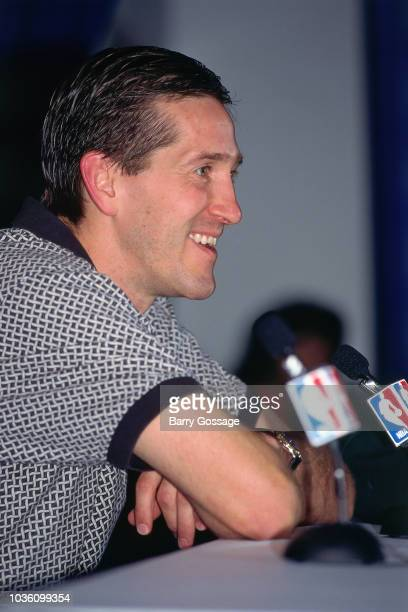 Jeff Hornacek of the Utah Jazz talks with media at the post game interview after the game against the Chicago Bulls on June 8 1997 at the Delta...
