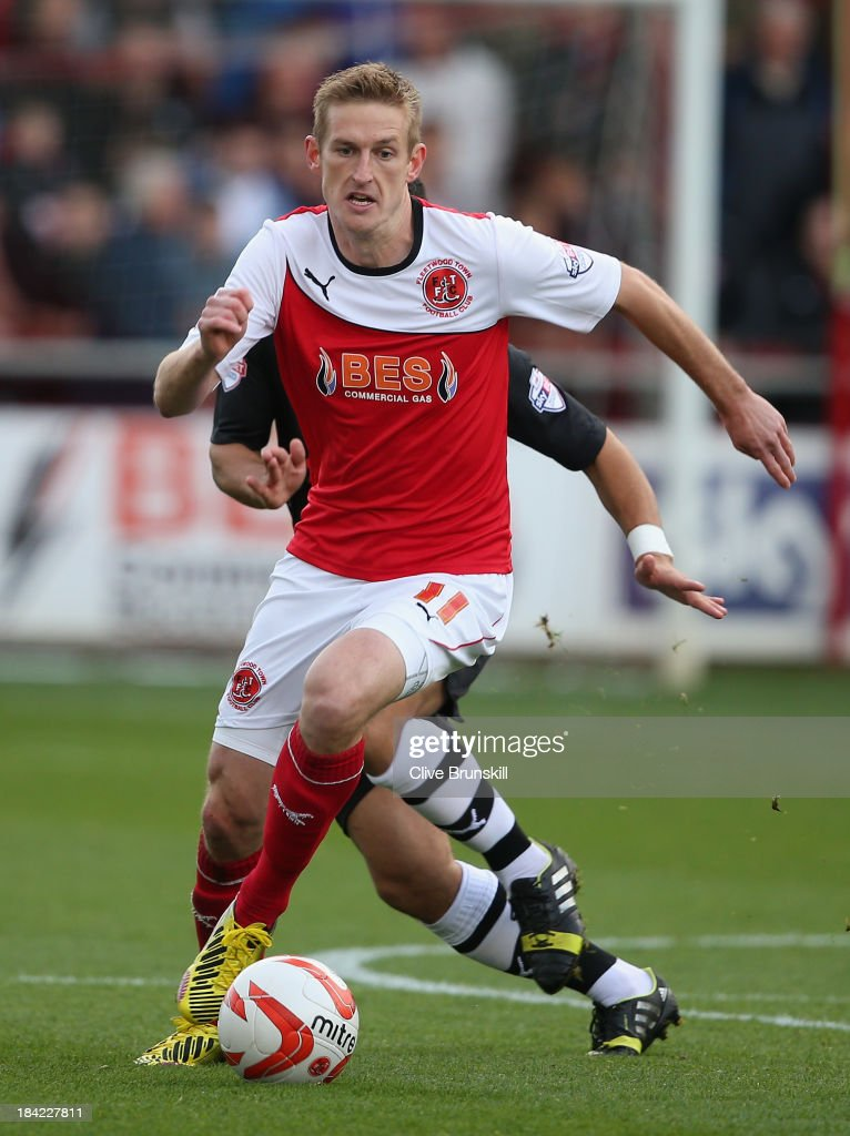 Jeff Hughes of Fleetwood Town in action during the Sky Bet League Two match between Fleetwood Town and Chesterfield at Highbury Stadium on October 12, 2013 in Fleetwood, England,