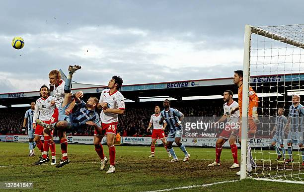 Jeff Hughes of Notts County attempts an overhead kick during the FA Cup Fourth Round match between Stevenage and Notts County at the Lamex Stadium on...