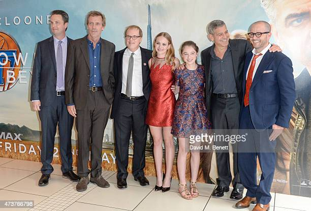 Jeff Jenson Hugh Laurie Brad Bird Britt Robertson Raffey Cassidy George Clooney and Damon Lindelof attends the UK Premiere of Tomorrowland at Odeon...