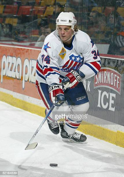 Jeff Jillson of the Rochester Americans in action against the Hamilton Bulldogs during the game at Copps Coliseum on January 26 2005 in Hamilton...