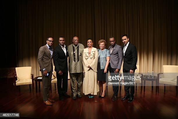 "Jeff Johnson, Lyriq Bent, Louis Gossett Jr., Aunjanue Ellis, Debra L. Lee, Clement Virgo and Damon D'Oliveira attend ""The Book of Negroes"" screening..."