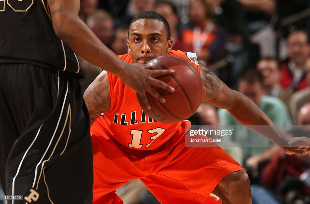 Jeff Jordan 13 Of The Illinois Fighting Illini Defends Against Purdue Boilermakers During Their