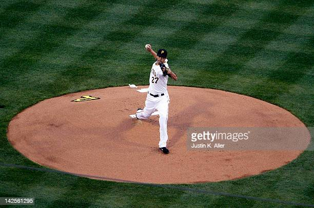Jeff Karstens of the Pittsburgh Pirates pitches during the first inning against the Philadelphia Phillies during the game on April 7 2012 at PNC Park...