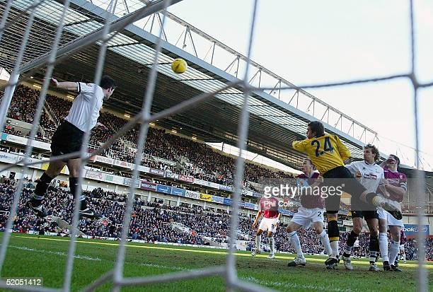 Jeff Kenna of Derby makes a goal line clearence during the CocaCola Championship match between West Ham United and Derby County at Upton Park on...