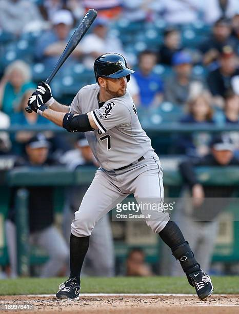 Jeff Keppinger of the Chicago White Sox bats against the Seattle Mariners at Safeco Field on June 3 2013 in Seattle Washington