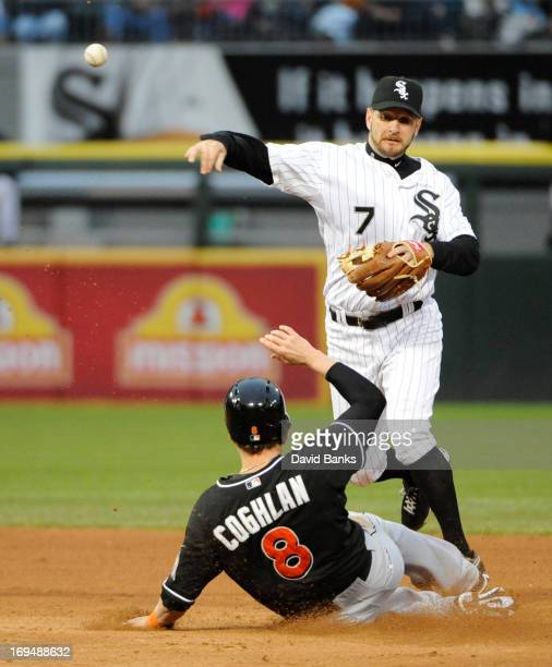Jeff Keppinger of the Chicago White Sox forces out Chris Coghlan of the Miami Marlins during the fifth inning on May 25 2013 at US Cellular Field in...