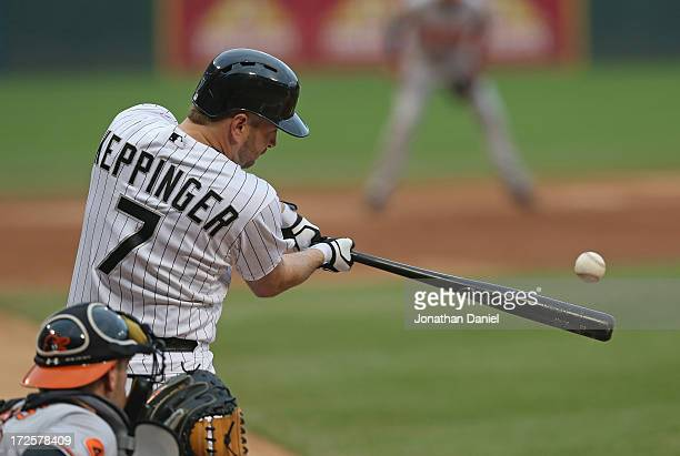 Jeff Keppinger of the Chicago White Sox hits a double in the 2nd inning against the Baltimore Orioles at US Cellular Field on July 3 2013 in Chicago...