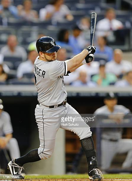 Jeff Keppinger of the Chicago White Sox in action against the New York Yankees in a MLB baseball game at Yankee Stadium on September 4 2013 in the...