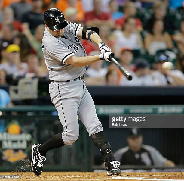 Jeff Keppinger of the Chicago White Sox lines out to Matt Dominguez of the Houston Astros in the second inning at Minute Maid Park on June 14 2013 in...